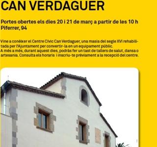 """PORTES OBERTES al nou centre civic """"CAN VERDAGUER"""""""